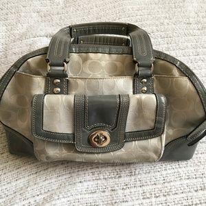 COACH White Silver-tone Metallic Purse/Handbag